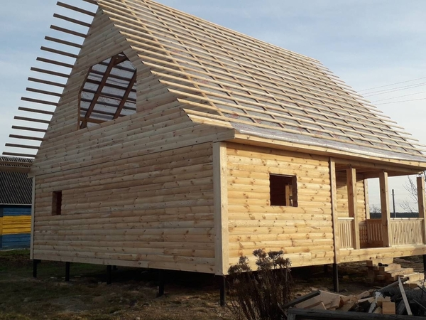 Дом из бруса сруб Антон 9×9 установка в Сморгони 3