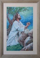 Картина «Молящийся в саду»,  ручная работа,  вышивка
